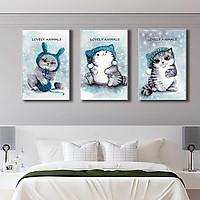 Bộ 3  tranh canvas trang trí phòng trẻ em Mèo con và cuộn len - TTE008