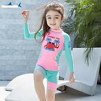 Bộ bơi hồng xanh hình cua đỏ dài tay quần cộc rời  (2-10 tuổi)