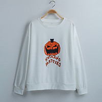 Women's Pumpkins Graphic Sweatshirts Cute Hoodies O-Neck Long Sleeve Casual Loose Fit Pullover Shirts Tops Holiday
