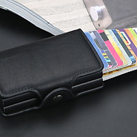 Fashion Men Anti RFID Double Layers Credit Card Holder PU Leather Metal ID Card Case Aluminum Card Protection Male