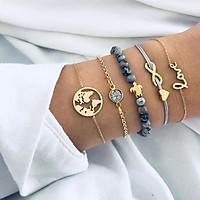 5pcs/set Women Fashion Turtle Heart Earth Map Bead Charm Bracelets Fashion Decoration