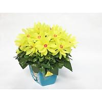 Chậu hoa giả cao cấp - Hoa Cúc pha lê - nhựa handmade (Vàng 22x20cm)