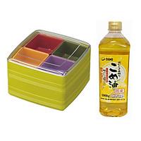 Combo hộp đựng cơm bento, đồ ăn dã ngoại cỡ nhỏ + dầu gạo cao cấp Tsuno 100gr - Tặng 2 thìa inox Twins nội địa Nhật Bản