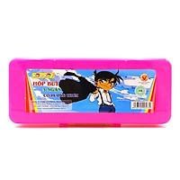 Hộp Bút Nhựa 3 Ngăn Kid Kit DCHS-004 - Mẫu 6 - Màu Hồng