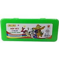 Hộp Bút Nhựa 3 Ngăn Kid Kit DCHS-004 - Màu Xanh Lá