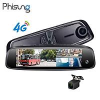 Camera hành trình cao cấp Phisung E09-3 tích hợp 3 camera, 4G, Android, Wifi - Hàng nhập khẩu