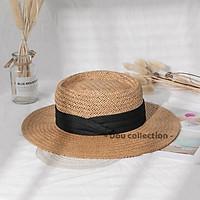 Nón Cói (Mũ Cói) PANAMA Cao Cấp Vành Rộng Phối Dây Nơ Đi Biển Phong Cách Vintage - Mã NC017