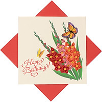 Thiệp Chúc Giấy Xoắn Thủ Công (Quilling Card) Chúc Mừng Sinh Nhật Vườn Hoa Lan - Tặng Kèm Khung Giấy Để Bàn