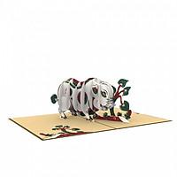 Thiệp 3D pop up Lợn ăn lá ráy