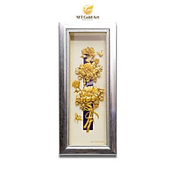 Tranh Hoa Mẫu Đơn Dát Vàng 24k (14x34cm) MT Gold Art- Hàng chính hãng, trang trí nhà cửa, phòng làm việc, quà tặng sếp, đối tác, khách hàng, tân gia, khai trương