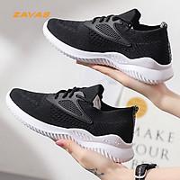 Giày thể thao sneaker nữ màu đen đế êm nhẹ thoáng khí thương hiệu ZAVAS - S392 - Hàng chính hãng