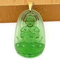 Mặt dây chuyền Phật Đại Nhật Như Lai pha lê xanh lá size lớn 5cm - phật bản mệnh tuổi Mùi, Thân
