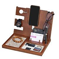 Giá đỡ điện thoại đa năng Nhatvywood PDS01 -  kệ điện thoại bằng gỗ để bàn thông minh có đế sạc apple watch- làm quà sinh nhật  cho bạn trai.