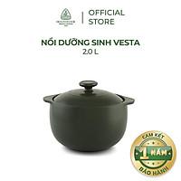 Nồi sứ dưỡng sinh Minh Long - Vesta 2.0 L + nắp dùng cho bếp gas, bếp hồng ngoại