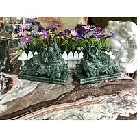 Cặp Tỳ Hưu phong thủy đá ngọc Ấn Độ có đế - Dài 20 cm