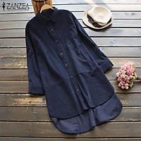 ZANZEA Women Plus Size Plain Basic Button Up Shirt Top Tee Cotton Baggy Tunic Blouse