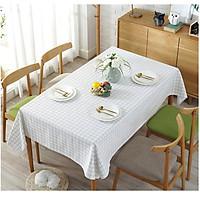 Khăn trải bàn vải bố - Caro lá mạ trắng nhỏ - mẫu N06
