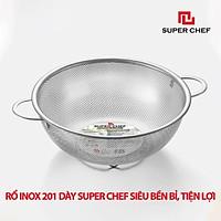 Rổ Inox 2 Quai Super Chef Dày Dặn, Cứng Cáp Siêu Bền Bỉ, An Toàn Khi Tiếp Súc Thực Phẩm, Chống Ăn Mòn, Chống Gỉ Sét Oxy hóa, Không Hoen Ố, Sang Trọng Tiện Lợi ( Size từ 16.5 đến 31.5cm)