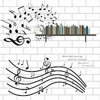Decal dán tường Âm nhạc 5 dòng kẽ Amyshop - 2 bộ (150 x 220 cm)