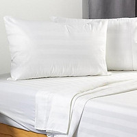 Ga trải giường HANVICO Cotton màu trắng kẻ sọc 3cm