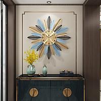 Đồng hồ treo tường pin họa tiết lá cây trang trí phòng khách