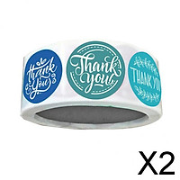 2x500 Pieces Roll Thank You Packaging Sealing Stickers Round Paper Labels Blue