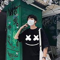 Áo thun tay lỡ unisex nam nữ form rộng Mặt Cười Hàn Quốc Siêu Đẹp Màu Đen áo phông basic tee mùa hè