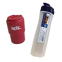 Bình đựng nước 1 lít kèm cốc uống nước nắp xoay 320ml có lỗ cắm ống hút