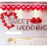 SET BÓNG TRANG TRÍ CƯỚI HAPPY WEDDING  KÈM BÓNG CÔ DÂU CHÚ RỂ SIZE TO ( tặng bơm bóng, băng dính)
