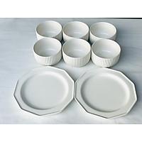 Bộ bát đĩa 8P (6 bát cơm & 2 đĩa) - Rire Series & Bella - Erato - Hàng nhập khẩu Hàn Quốc