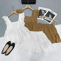 Set đồ nữ, bộ đồ nữ hè áo baby doll cánh tiên quần short giả váy xinh xắn