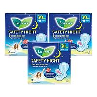 Combo 3 gói Băng Vệ Sinh Ban Đêm Laurier Safety Night [30cm-8M]