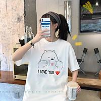 ÁO THUN UNISEX GAU I LOVE YOU Grizzly Panda và Ice Bear PHÔNG NAM NỮ GIA ĐÌNH CẶP ĐÔI CÓ SIZE TRẺ EM AOMIVN