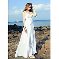 Váy maxi màu trắng 2 dây đi biển đẹp
