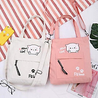 Túi xách tote vải Túi Tote Túi Vải Nữ Túi Đeo Chéo Hàn Quốc Túi Tote Mèo Cony balo nữ vải