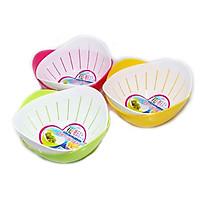 Bộ 3 bộ thau rổ nhựa kèm khay hứng tiện lợi (giao màu ngẫu nhiên) - Hàng nội Địa Nhật
