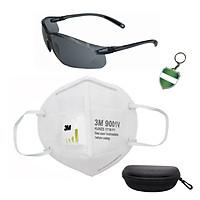 Combo Khẩu trang 3M 9001V, chống bụi siêu mịn PM2.5, kháng khuẩn và kính HoneyWell A700 đen ( bộ kính râm) bảo vệ mắt, chống tia cực tím chống bụi; tặng móc treo khóa
