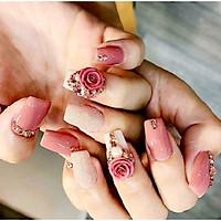 Hoa hồng xoay vẽ từ bột nổi trang trí móng