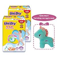 Combo 2 gói Tã quần em bé siêu khô thoáng UniDry size XXL56 - Tặng 1 thú bông con ngựa xanh