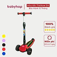 Xe trượt scooter Babyfast 3 bánh an toàn cho trẻ em của Babyhop chịu lực 90kg phù hợp cho cả bé trai và gái, bánh xe phát sáng vĩnh cửu, rèn luyện vận động, tăng chiều cao cho bé - Hàng chính hãng