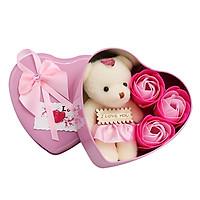 Quà 8/3 - Hộp quà 3 hoa hồng sáp trái tim kèm gấu bông