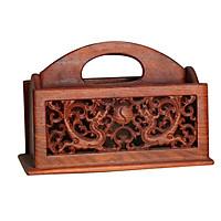 Hộp đựng đồ 5 ngăn trạm khảm hình rồng gỗ hương