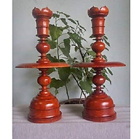 Cặp đèn cầy gỗ Hương 60cm
