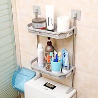 Kệ Nhà Tắm - Khay Để Đồ Nhà Tắm 2 Tầng Dán Tường Nhựa PP - Tặng kèm 1 Thước dây 1M Tiện Lợi