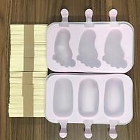 Set 2 Khuôn làm kem silicon kèm 50 que gỗ - KKS