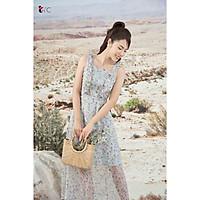 Đầm maxi hoa tím, bèo tay Tri'C Luxury A25221 Xanh