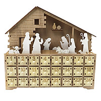 Wooden Craft Jesus Advent Calendar with Lamp 24 Numbered Drawers Countdown Christmas Home Decoration