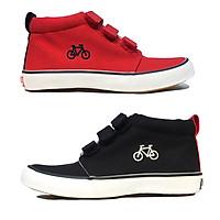Giày bốt cổ lửng cho bé trai bé gái xuất dư, phong cách và cá tính với 3 quai dán chắc chắn - màu đen màu đỏ Bicycle Sr7