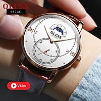 Đồng hồ nam dây da OLEVS-5874G độc đáo & nghệ thuật, có lịch ngày đêm, mạ vàng hồng cao cấp - Hàng chính hãng