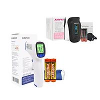 Combo Máy đo nồng độ oxy máu và nhịp tim, chỉ số PI Jumper SPO2 JPD-500D OLED và  Nhiệt kế hồng ngoại không tiếp xúc Jumper FR202 (CHỨNG NHẬN FDA HOA KỲ + XUẤT USA)